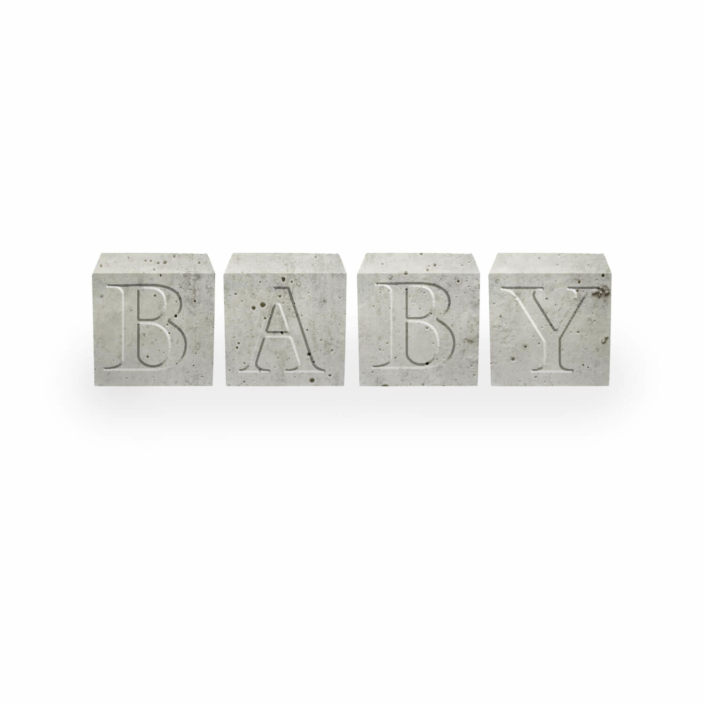 Babygeschenke personalisiert - Beton Buchstabenwürfel Baby