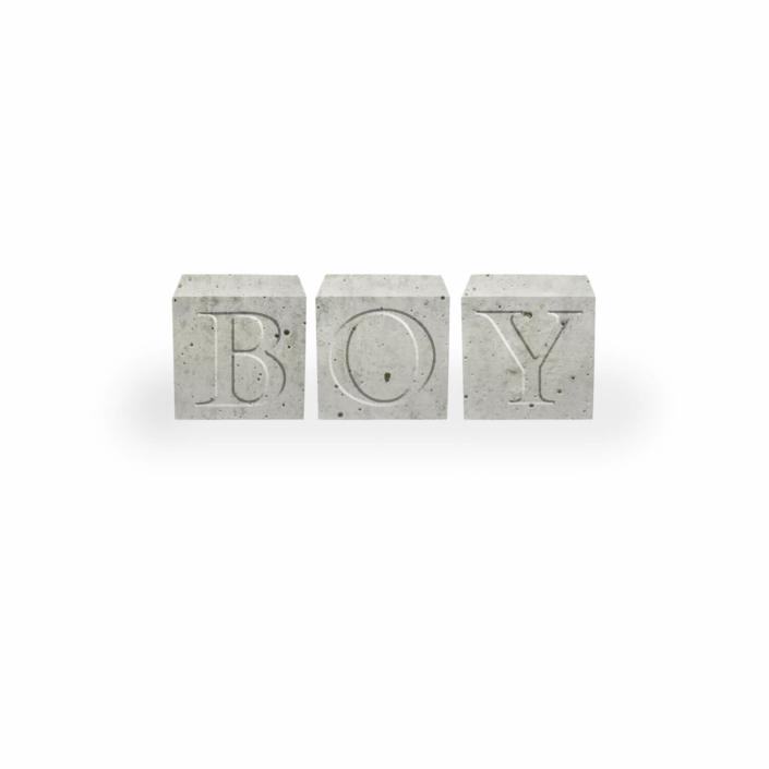 Babygeschenke personalisiert - Beton Buchstabenwürfel Boy