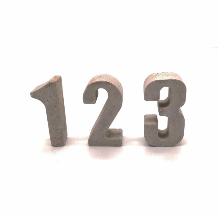 Außergewöhnliche Geschenke Geburtstag - Kleine Zahlen aus Beton von 0-9