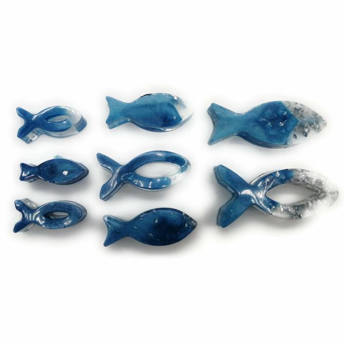 Epoxidharz Deko - Resin Fische 8er-Set in blau