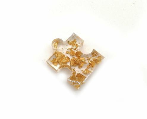 Epoxidharz Deko - Resin Puzzleteile in gold