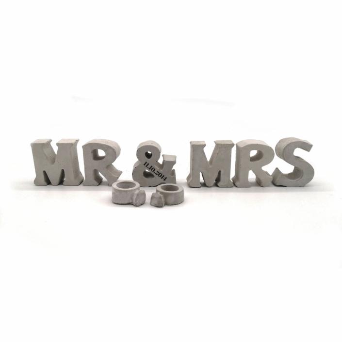 Hochzeitsgeschenk Ideen ausgefallen - Beton Buchstaben Mr & Mrs