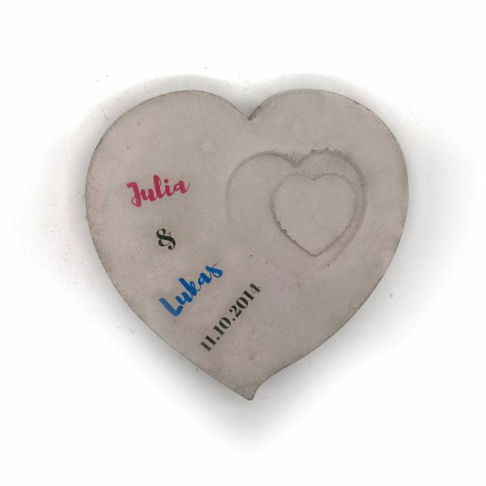 Hochzeitsgeschenk Ideen ausgefallen - Beton Herz für das Brautpaar