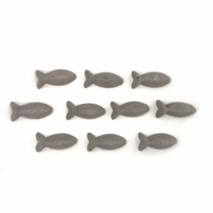 Kommuniontischdeko Beton Fisch 10er Set