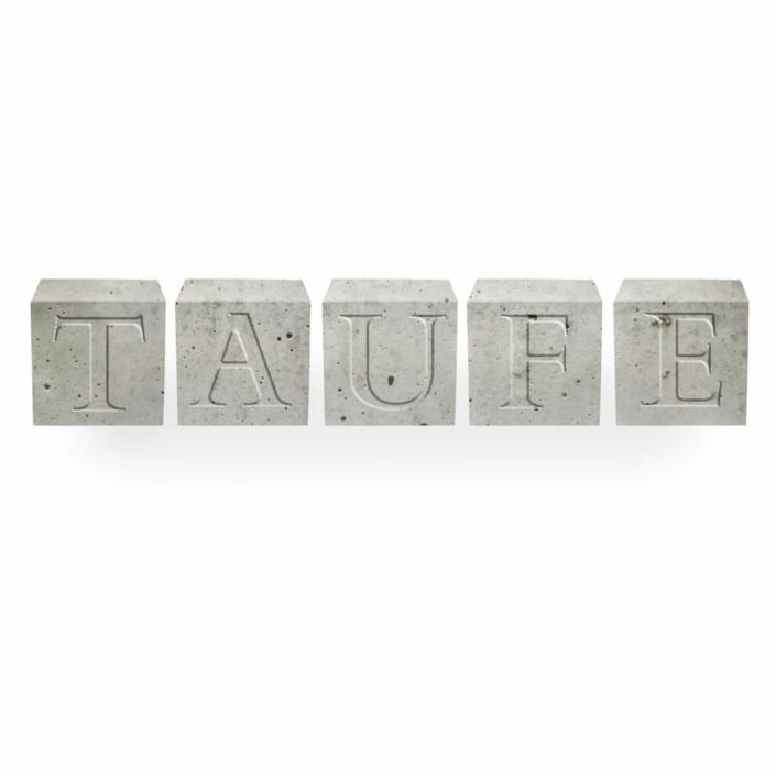 Kommuniontischdeko Beton Buchstabenwürfel zur Taufe